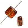 Glass Bead Squares 8mm Transparent Light Topaz Marble - Strung